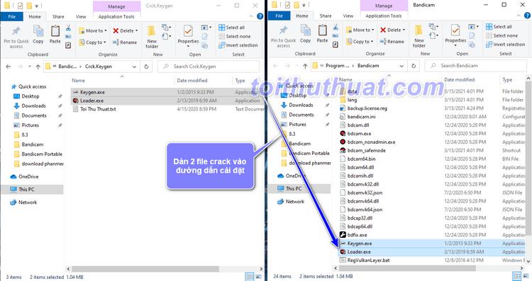 Dán 2 file crck vào đường dẫn cài đặt phần mềm Bandicam 5
