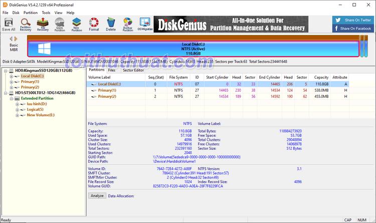 DiskGenius Pro 5- Khôi phục file, sao lưu và quản lý phân vùng