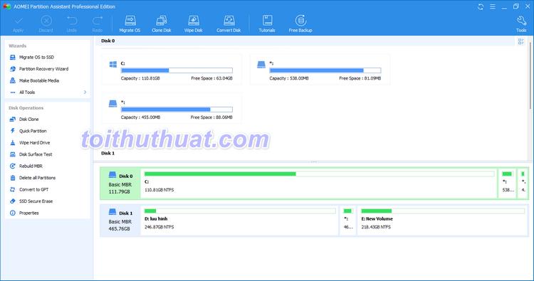 AOMEI Partition Assistant Professional 9- Hỗ trợ phân vùng ổ đĩa