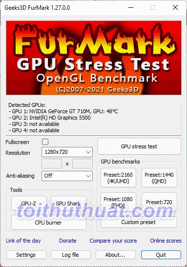 FurMark 1 - Kiểm tra phần cứng máy tính
