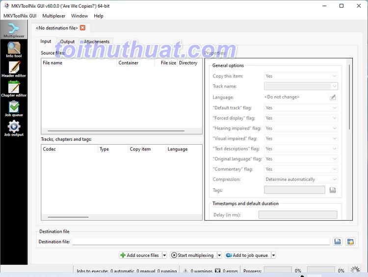 MKVToolnix 60 - Hỗ trợ biên tập video