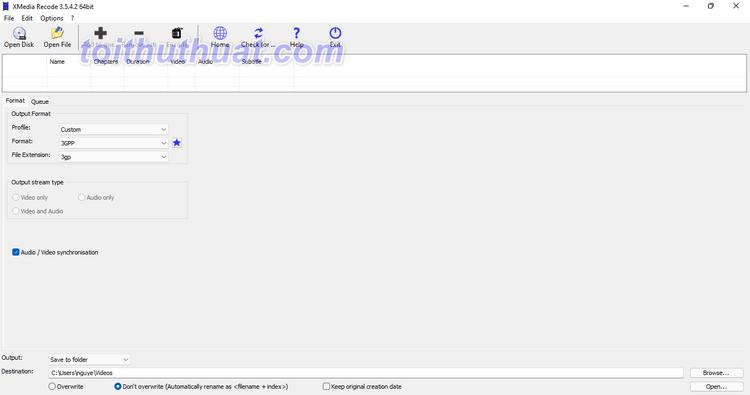 XMedia Recode 3 - Thay đổi đuôi file