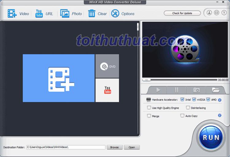 WinX HD Video Converter Deluxe 5 - Hỗ trợ thay đổi định dạng video