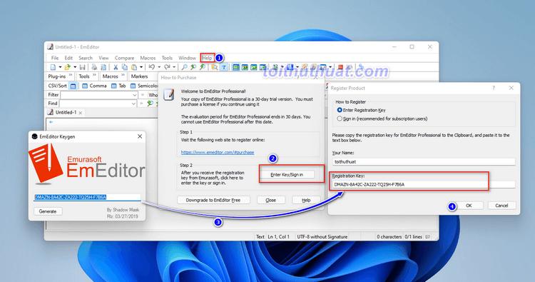 Hướng dẫn cài đặt EmEditor Pro 21