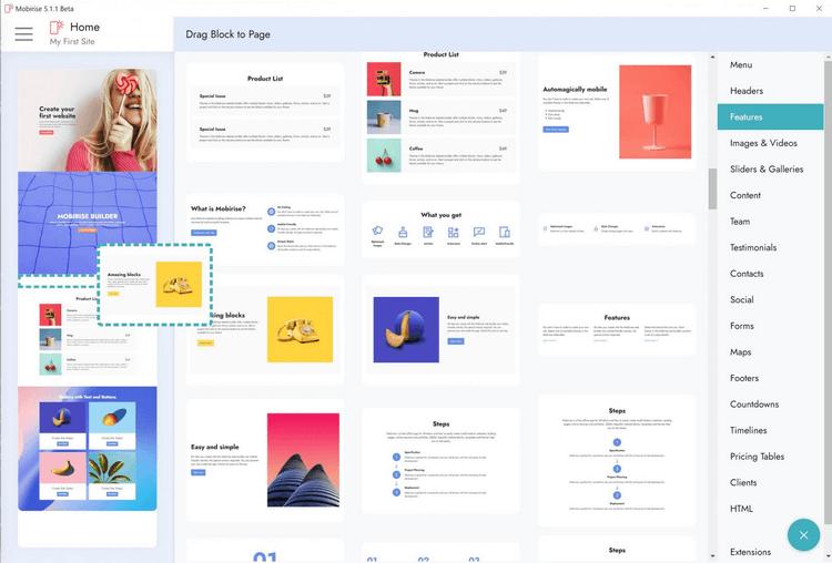 Mobirise 5 - Tạo, thiết kế website